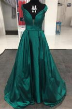 Customized Off The Shoulder Sleeveless Satin Prom Dress Pleated Sweep Train Zipper
