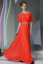 Clearance Scoop Coral Red Column/Sheath Appliques Dress for Prom Side Zipper Chiffon Short Sleeves Ankle Length