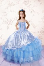 New Arrival Ruffled Floor Length Ball Gowns Sleeveless Baby Blue Kids Formal Wear Lace Up