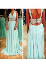 Sleeveless Backless Floor Length Beading Prom Evening Gown