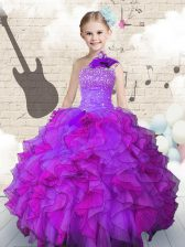 One Shoulder Floor Length Purple Kids Formal Wear Organza Sleeveless Beading and Ruffles