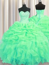 Best Green Ball Gowns Organza Sweetheart Sleeveless Beading and Ruffles and Pick Ups Floor Length Lace Up Ball Gown Prom Dress