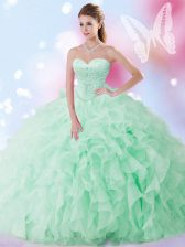 Sweetheart Sleeveless Lace Up Quinceanera Gown Apple Green Organza