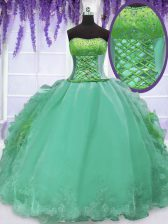 Glamorous Turquoise Ball Gowns Embroidery and Ruffles Sweet 16 Dress Lace Up Organza Sleeveless Floor Length