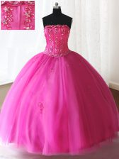 Strapless Sleeveless Quince Ball Gowns Floor Length Beading Hot Pink Tulle