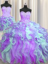 Customized Three Piece Multi-color Sleeveless Organza Lace Up Quinceanera Dress for Military Ball and Sweet 16 and Quinceanera