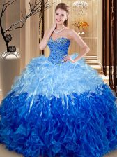 Dynamic Sleeveless Beading and Ruffles Lace Up Vestidos de Quinceanera
