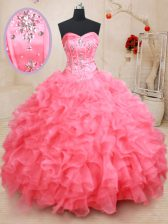 Sleeveless Floor Length Beading and Ruffles Lace Up Quinceanera Dresses with Pink