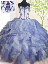 Blue And White Sweetheart Neckline Beading and Ruffles 15th Birthday Dress Sleeveless Lace Up