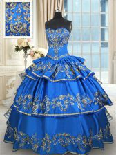 Popular Sleeveless Taffeta Floor Length Lace Up Sweet 16 Dress in Blue with Beading and Embroidery and Ruffled Layers