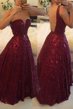 Low Price Lace Burgundy Homecoming Dress Prom and Party with Beading V-neck Sleeveless Backless