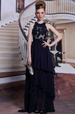 Scoop Black Lace Up Prom Evening Gown Beading and Lace Sleeveless Floor Length