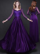 Gorgeous Purple Lace Up Homecoming Dress Appliques and Belt Long Sleeves Floor Length