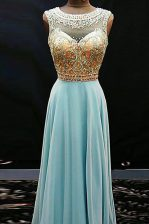Scoop Aqua Blue Chiffon Side Zipper Prom Gown Sleeveless Floor Length Beading