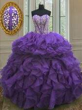 Latest Organza Sweetheart Sleeveless Lace Up Beading and Ruffles Sweet 16 Quinceanera Dress in Purple