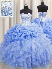 Visible Boning Baby Blue Organza Lace Up Sweetheart Sleeveless Floor Length 15th Birthday Dress Ruffles and Pick Ups