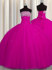 Vintage Puffy Skirt Fuchsia Tulle Lace Up Ball Gown Prom Dress Sleeveless Floor Length Beading and Sequins