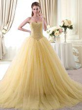 Artistic Beading Vestidos de Quinceanera Gold Lace Up Sleeveless Floor Length