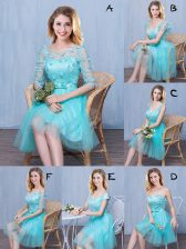 Scoop Lace and Appliques and Bowknot Quinceanera Dama Dress Aqua Blue Lace Up Sleeveless Knee Length