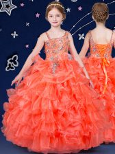 Perfect Sleeveless Floor Length Beading and Ruffled Layers Lace Up Little Girl Pageant Gowns with Orange