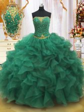 Most Popular Beading and Ruffles 15 Quinceanera Dress Dark Green Lace Up Sleeveless Floor Length