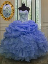 Chic Blue Sleeveless Floor Length Beading and Pick Ups Lace Up Sweet 16 Quinceanera Dress