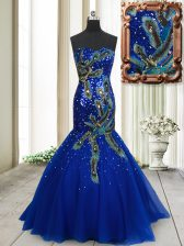 Low Price Mermaid Sleeveless Tulle Brush Train Lace Up Dress for Prom in Blue with Beading and Appliques and Sequins