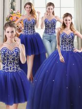 Modest Four Piece Sweetheart Sleeveless Tulle 15 Quinceanera Dress Beading Lace Up