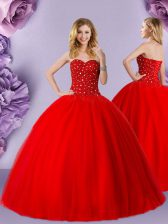 Custom Design Red Sleeveless Tulle Lace Up Ball Gown Prom Dress for Military Ball and Sweet 16 and Quinceanera