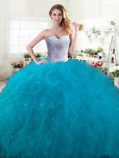 Admirable Sweetheart Sleeveless Quinceanera Gown Floor Length Beading and Ruffles Teal Tulle