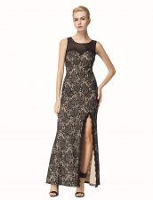 Adorable Scoop Black Sleeveless Ankle Length Lace Zipper Prom Party Dress