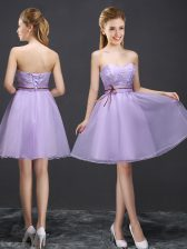 A-line Damas Dress Lavender Sweetheart Organza Sleeveless Mini Length Lace Up