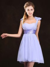 Great Empire Vestidos de Damas Lavender Straps Chiffon Sleeveless Mini Length Zipper