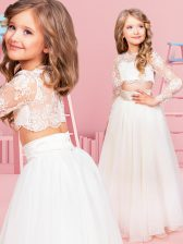 Scoop Long Sleeves Chiffon Floor Length Clasp Handle Flower Girl Dresses for Less in White with Lace