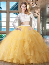 Glorious Scoop Beading and Lace and Ruffles Sweet 16 Quinceanera Dress Gold Zipper Long Sleeves Brush Train