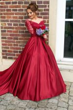 Elegant Off the Shoulder Long Sleeves Sweep Train Zipper With Train Appliques Prom Evening Gown