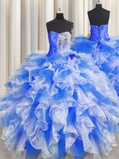 Luxury Sweetheart Sleeveless Quinceanera Dresses Floor Length Beading and Ruffles and Ruching Blue And White Organza
