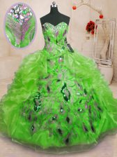 Custom Made Sleeveless Floor Length Beading and Appliques and Ruffles Lace Up Sweet 16 Dress with