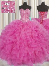 Graceful Visible Boning Sleeveless Floor Length Beading and Ruffles Lace Up Sweet 16 Quinceanera Dress with Hot Pink