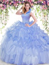 Lovely Backless Organza Sleeveless Floor Length 15 Quinceanera Dress and Beading and Ruffled Layers