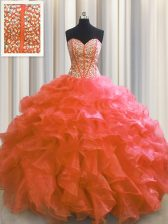 Spectacular Visible Boning Floor Length Red Quinceanera Dresses Sweetheart Sleeveless Lace Up