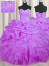 New Style Organza Sleeveless Floor Length Quince Ball Gowns and Beading and Ruffles and Pick Ups