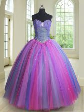 Multi-color Ball Gowns Beading Quince Ball Gowns Lace Up Tulle Sleeveless Floor Length