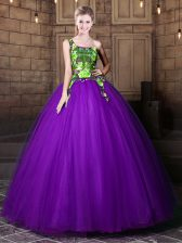 Pretty One Shoulder Eggplant Purple Sleeveless Floor Length Pattern Lace Up Sweet 16 Quinceanera Dress