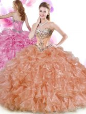 Organza Sweetheart Sleeveless Lace Up Beading and Ruffles Quinceanera Gowns in Rust Red and Peach