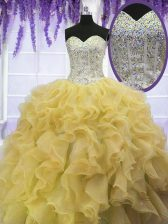 Sleeveless Beading and Ruffles Lace Up Quinceanera Dress