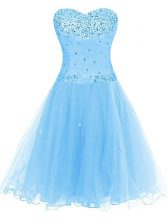 Organza Sweetheart Sleeveless Lace Up Beading Homecoming Dress in Blue