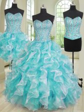 Fabulous Three Piece Blue And White Sweetheart Neckline Beading and Ruffles Sweet 16 Dresses Sleeveless Lace Up