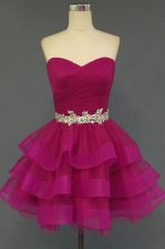 Clearance Sleeveless Organza Mini Length Lace Up in Fuchsia with Beading