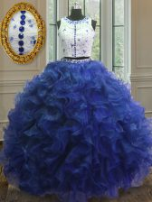 Dazzling Royal Blue Scoop Clasp Handle Appliques and Ruffles Quince Ball Gowns Sleeveless